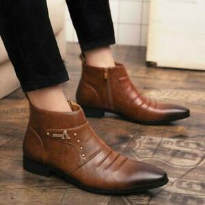 Mens Chelsea Booties Retro Pointy Toe Ankle Boots Casual Leather Zip Shoes Party