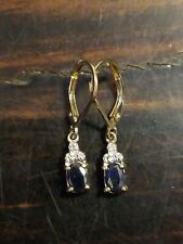 Sapphire & Diamond Earrings Gold Sterling Silver 925