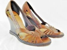 """Report Women's Leather 3.5"""" Wedge Sandals Heels Shoes Woven Tooled Brazil 7.5 M"""