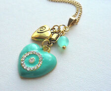 Pendant Necklace Gold Plated Turquoise Enamel Rhinestone Studded Heart KCJ1432
