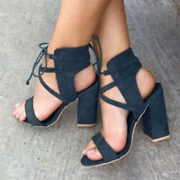 Womens Open Toe Block High Heels Lace Up Ankle Strap Slingbacks Clubwear Shoes