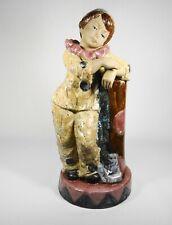 """Vintage Porcelana Artistica Levantina Boy Clown Figure Statue Spain 12"""""""
