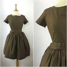 True Vintage 1950s Dress Brown Polka Dot 50s Belted Swing Dress Rockabilly 10