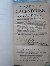 MEDON : NOUVEAU CALENDRIER SPIRITUEL. Orléans, 1764.