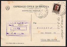 STORIA POSTALE RSI 1944 Cartolina da Padova per Villa del Conte (FS1)