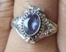 Rp195-925 Sterling Silver Balinese Poison/Locket Ring With Iolate Size 8