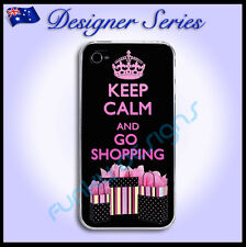 Designer Apple iPhone 4 / 4S Pretty Pink hard case Keep Calm and Go Shopping 46