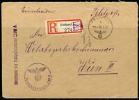 GERMANY  WW II  GERMAN ARMY POSTAL SER FELDPOST REG- COVER TO WEHBEZIRK..3/30/42