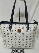 AUTHENTIC MCM White  Studded Visetos Shoulder Shopper BAG