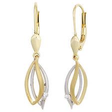 Boutons 585 Gold Gelbgold Weißgold 2 diamanten Ohrringe Ohrhänger A32253
