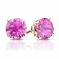 4 Ct Round Cut Pink Diamond Earrings in Solid 14k Rose Gold Screw Back Studs