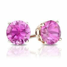 3 Ct. Round Pink Real Solid 14K Rose Gold Earrings Studs Screw Back Basket