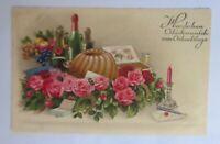 Geburtstag, Stillleben, Kuchen, Sekt, Rosen, Obst, Kerze, 1933  ♥ (6846)