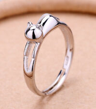 WOMENS 925 STERLING SILVER PLATED ADJUSTABLE CAT RING E33