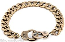 Antique Bronze Steel Handcuff Clasp Flat Link Chain Bracelet Curb Wrist