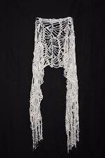 White Loose Makrame Tie Bouncy Party Scarf W Tassels For All Ages Ladies (S182)