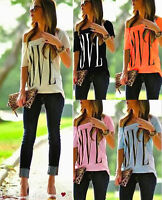 Hot Women Love Print Loose T-shirt Top Ladies Short Sleeve Shirt Casual Blouse 8