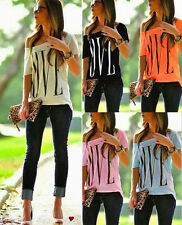 Hot Women Love Print Loose T-shirt Top Ladies Short Sleeve Shirt Casual Blouse 8