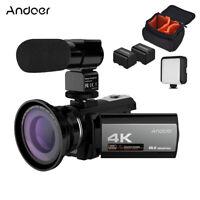 Andoer 4K 48MP WiFi Video Camera + Microphone +LED Video Light + 2* Battery U3N4