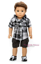 PLAID SHIRT + CARGO SHORTS + SHOES for 18 inch American Girl Boy Doll Clothes