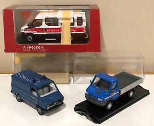 Lot of 3 Aurora Design OldCars Iveco Truck Van Bus Police 1:43