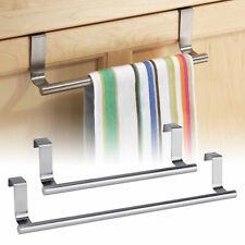 Kitchen Towel Rack Hanger Holder Cabinet Over Door Storage Shelf Stainless Steel