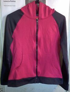 Hanes Sport Zip Up Hoodie Girls Size XL Charcoal Gray & Pink Zippered Sweater