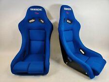 NEW PAIR 2 SEATS - BRIDE VIOS Blue Cloth Fiberglass Seats Low Max JDM Rare