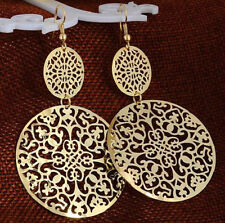 GOLD PLATED ROUND CIRCLE DROP DANGLE EARRINGS