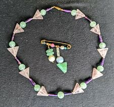 Rose Quarts with Purple Green Agate Necklace and Pin Brooch Geometric Shapes 18""