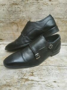 GOODWIN SMITH Men's Black Smooth Leather Shoes Double Monk Strap UK8 EUR42- USED
