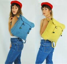 Heavy Duty Canvas Laptop Rucksack Backpack Satchel School Bag - Blue/Yellow