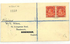 TURKS & CAICOS British 1926 Registered *Wilson* Cover Birmingham {samwells}AB337