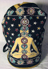 Seven Chakra Yoga Kundalini Indian Cotton BACKPACK Drawstring Hippie Book BAG