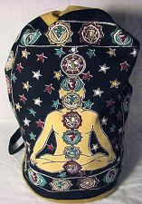 Seven Chakra Yoga Kundalini Indian Cotton BACKPACK Drawstring Hippie Book BAG