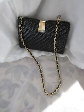 Vintage Black Wicker Clutch Bag w Tuck Chain Hong Kong