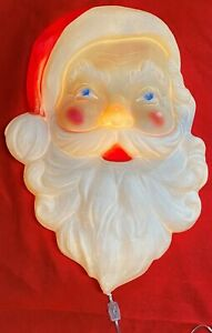 """Vintage Christmas Lighted Blow Mold Santa Face Head 22"""" x 16"""" Union Products"""