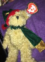 """TY Beanie Babies Attic Treasures Spruce 8"""" Jointed Christmas Hat and Scarf 1993"""