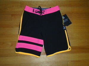 Hurley Boys Phantom Boardshorts Black Hyper Pink 22 Board Shorts 6 Years NWT $50