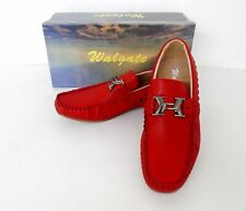 Men's WALGATE Red Blue Black Slip on loafers leather lining casual shoes 26109