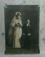 Portrait Wedding Handsome Couple Beautiful Bride & Gown Edwardian Photo