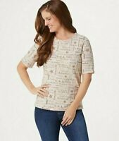Denim & Co. Word Print Perfect Jersey Elbow-Sleeve Top New Stone XX-Small