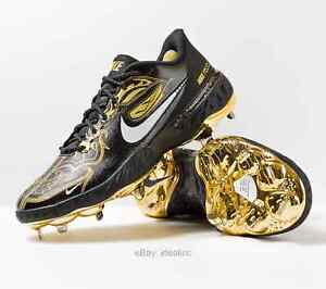 Nike Alpha Huarache Elite 3 Low Premium Gold Metal Baseball Cleat React Men's 12