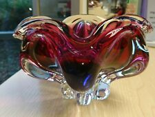 RETRO VINTAGE MURANO SOMMERSO GEODE TRI COLOUR GLASS BOWL PINK& PURPLE 50's !!!