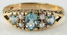 DIVINE 9CT/K VICTORIAN INSP BLUE TOPAZ& SEED PEARL RING