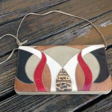 Vintage 70s 80s Palizia Brown Leather Reptile Purse Clutch Handbag Patch Bag