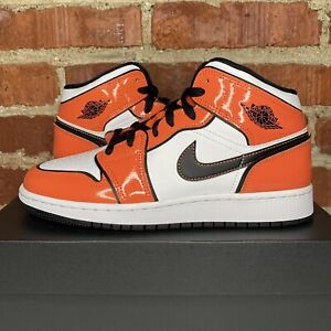 New Nike Air Jordan 1 Mid SE Turf Orange Black White GS Size 6Y (BQ6931-802)