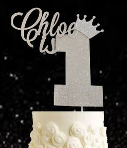 Personalised first birthday number one cake topper gold Girl Boy 1st princess