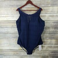 Swimsuits for All NWT 28 Navy Blue Crochet High Neck One Piece Swimsuit $104