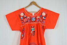 Hand Embroidered Orange Dress Made Mexico Boho Size Small STUNNING Quality